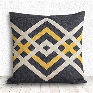 coussin g ometrique noir et jaune. Black Bedroom Furniture Sets. Home Design Ideas