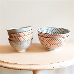 Petit bol en porcelaine - gris et orange