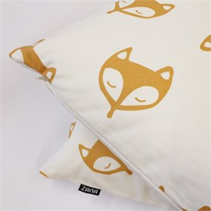 Coussin renards - moutarde