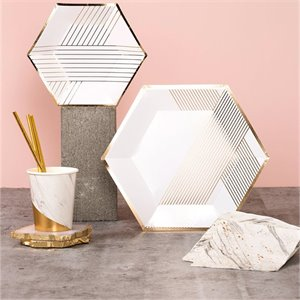 Grandes assiettes Hexagone - blanc