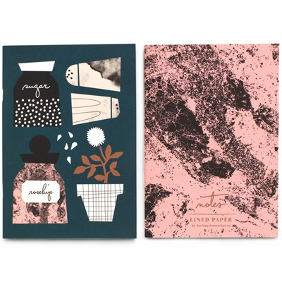 Notebooks - pink and herbs