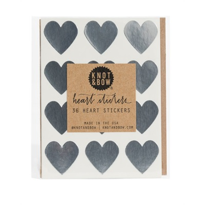 Heart stickers - silver