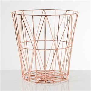 Metal storage basket - rose gold