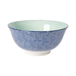 Stamped bowl - blue and aqua