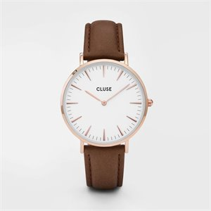 watch - rose gold and brown