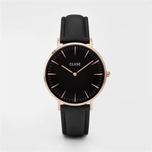 watch - rose gold and black