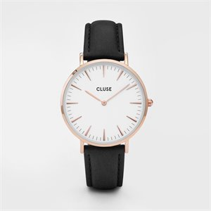 watch - rose gold, black and white