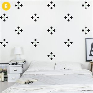 Cross Wallsticker - black and mint