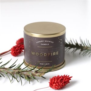 Small tin candle -  Woodfire