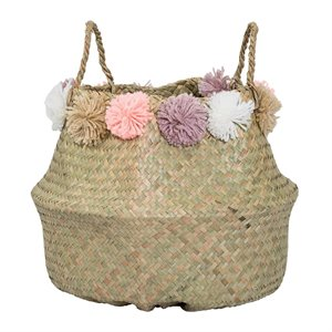Seagrass basket - natural with tassels