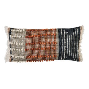 Textured pillow - navy blue and burnt orange