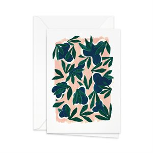 Green leaves on pink Card