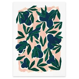 Green Leaves on Pink Print