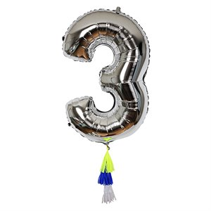Silver Number Balloon - 3