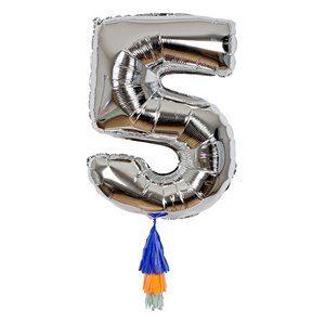 Silver Number Balloon - 5