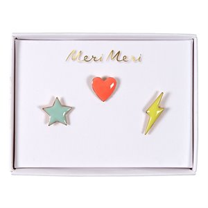 Enamel Pins - Star, heart, flash
