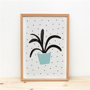 Plant and dot Print - green