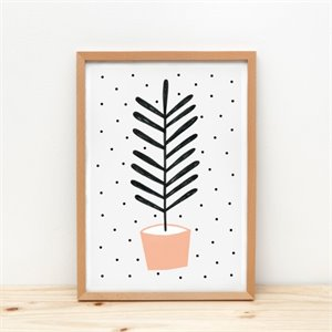 Plant and dot Print - peach