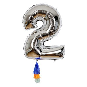Silver Number Balloon - 2