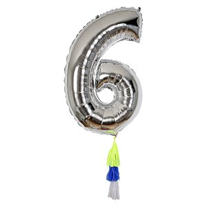 Silver Number Balloon - 6