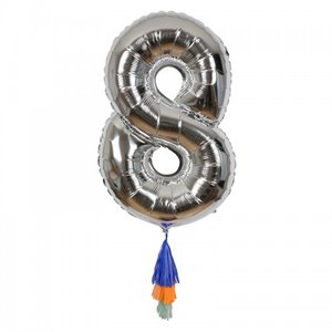 Silver Number Balloon - 8