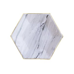 Marble Hexagon Small Party Plates - Goddess