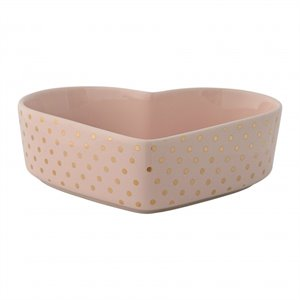 Ceramic heart shape bowl - pink and gold dots