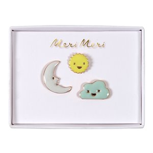 Enamel Pins - Sun, moon, cloud