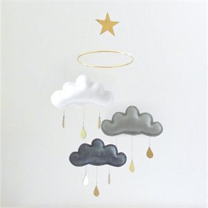 Clouds mobile with star - Shinto gold