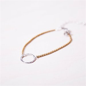 Jackie bracelet - gold with silver ring