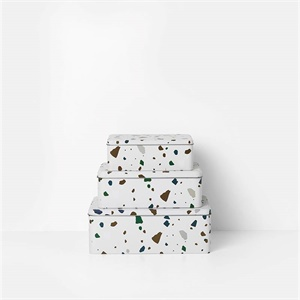 Set of 3 Terrazzo tin boxes - gray
