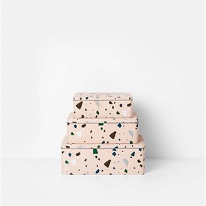 Set of 3 Terrazzo tin boxes - rose