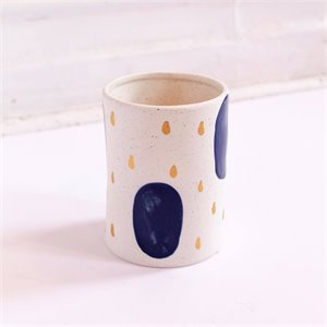 Stoneware Planter - Blue & Gold dots