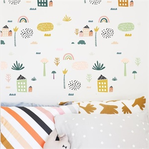 Wall Decal - Tropical village